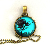 10% SALE Necklace Copper, Teal Blue Sunset Silhouette Tree Pendant, Resin Art Pendant Gift