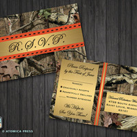 DIY Printable - Camo Wedding Invitation / RSVP Postcard - Camouflage - Hunter - Hunting - Hunt - Country - Rustic - Texture - Wedding