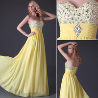 Beaded Sweetheart Wedding Formal Evening Party Long Prom Evening Dresses Gown SZ