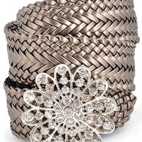 Metallic Woven Belt with Crystal Flower Buckle