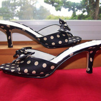 85 Polka Dot shoes Bow Top Kitten Heel by greenmarketvintage