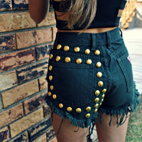 WLDHRTS Vintage Army Green STUDDED High Waisted Denim Shorts S