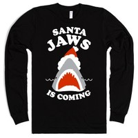 Santa Jaws Is Coming (White Ink)-Unisex Black T-Shirt