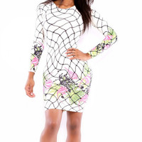 Floral Printed Long Sleeve Bodycon Dress