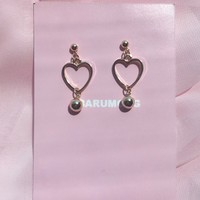 Gold Tone Hollow Heart Earrings | mixxmix