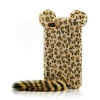 Cute 3d Tiger Leopard with Soft Feather Tail Case Cover Skin for Iphone 5