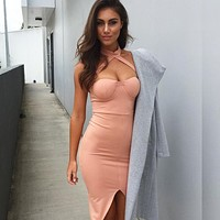 Casual 2018 New Summer Neckhead Open Fork Bag Breech Dress, Sexy Nightclub Pencil Skirt