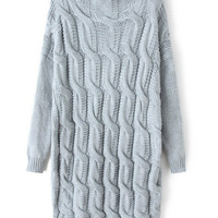 Grey Cable Knit Sweater Dress