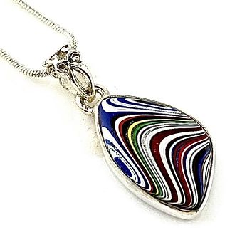 Fordite Sterling SIlver Fancy Shaped Pendant