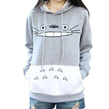 3D Thick Sweatshirt Harajuku Cartoon Totoro Animal Print Women Sport Suit Hoodie Spring/Autumn Outside Clothes = 1932554244