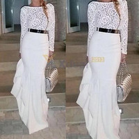 Women Sexy Long Sleeve Lace Prom Ball Cocktail Party Maxi Dress Evening Gown ##
