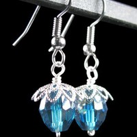 Teal Crystal Earrings, Fine Silver Plated Flowers, Wire Wrapped