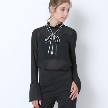 Bow Away Blouse Top - Black