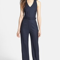 Tory Burch 'Trinity' Belted Wide Leg Jumpsuit