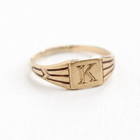 "Antique Art Deco ""K"" 10k Yellow Gold Ring - Vintage 1920s 1930s Size 3 Initial Letter K Fine Signet Jewelry Hallmarked A&Z"