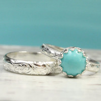 Turquoise stacking ring set of 2, sterling silver, stackable thick ring stack, vintage style, light blue, princess ring, crown setting