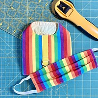 Rainbow Stripe Pride Dog Vest Harness and Optional Face Mask