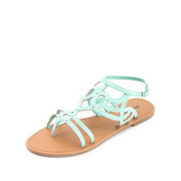 STUDDED CUT-OUT STRAPPY FLAT SANDALS