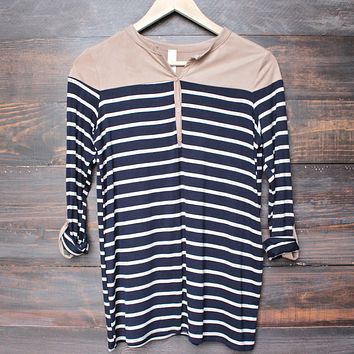 final sale - color block stripe 3/4 sleeve shirt