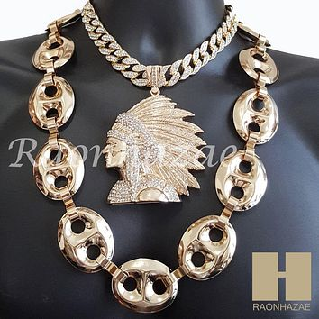 "HIPHOP Run DMC Apache Pendant 16"" Choker 30"" Puffed Gucci Cuban Chain 1"