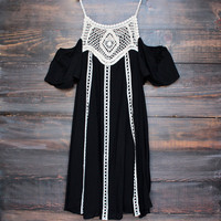 wine and dine cold shoulder boho dress in black