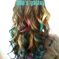 B O L D or pastel colored 14 inch human hair extension/ clip-in hair/ dip dye ombre (10) hair extensions