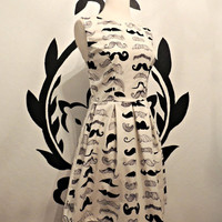 Mustache Print Pleated Dress - Quirky Whimsical Dress for Mustache Lovers