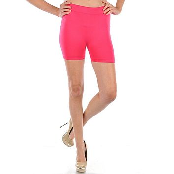 "Seamless Solid 12"" Spandex Yoga Workout Base Layer Stretch Leggings Shorts"