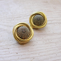 Sea Urchin Clip On Green Gold Earrings