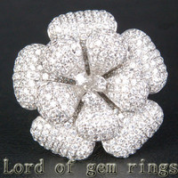 Unique Flower Natural 4.66ctw Diamonds 18K White/Yellow/Rose Gold Pave Engagement Ring 13.68g!