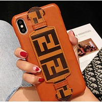 Fendi Fashion New Letter Print Leather Phone Case Protective Cover
