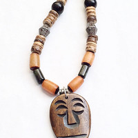 Mens Beaded Necklace, Mens Jewelry, Farhers Day Gift, Dad Gift, Tribal Style, Face Pendant, Coconut Jewelry