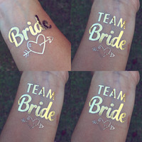 7 Team Bride + 1 Bride **   Bachelorette Team Bride & Bride Gold Temporary Tattoos **Shipped within 24 hours of your order