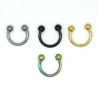 2015 Trendy Nose Septum Ring G23 Titanium Body Piercing Jewelry 16G Horseshoe Ring SGS Certification A20