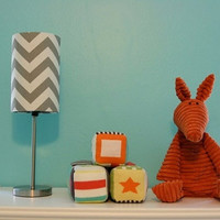 Small lamp and drum shade in silver / grey chevron print or any fabric choice pictured