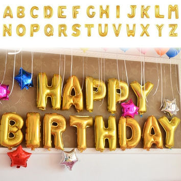 Balloon NEW Foil Letters A-Z Alphabet Wedding Party Decoration Gold Silver = 1946071748