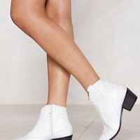 Patent Faux Leather Western Ankle Boots