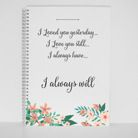 Love quote Gift Mini A4 Notebook A5 Journal Diary Planner Sketchbook Gift silver wire Gift for mother gift for friend