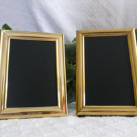 Set of two small VINTAGE, brass, framed chalkboards. Gold frames, vintage frames. Framed chalk board set, Photo props, wedding decor.