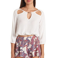 SHEER CHARMED CUT-OUT CROP TOP