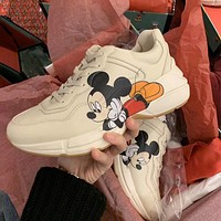 GUCCI x DISNEY thick sole increased shock absorption casual shoes board shoes old shoes