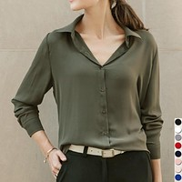 Round Neck Chiffon Women Blouse Button Decor Office Ladies Spring Tops Casual Spring Clothing