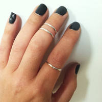 3 Layering Sterling Silver Stacking Knuckle Rings- any size