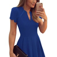 Blue Sweet Scallop Pleated Skater Fit and Flare Dress