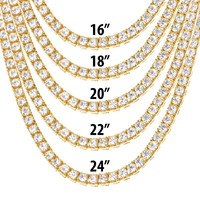 "14k Gold Finish 5mm 16""-24"" One Row Tennis Choker Chain"