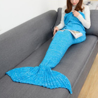 Winter&Spring Warm Handmade Knitted Mermaid Sofa Blanket Home Baby Children Adult +Free Gift Necklace