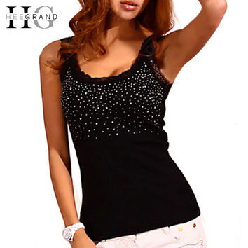 HEE GRAND Summer Hot Selling Women Casual Tank Top Korean Style Sexy Bling Rhinestone Lace Solid Slim Soft Tops Colete WBJ056