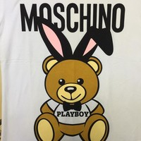 "Moschino White ""Fold of ear Bear"" Fashion Women T Shirt"