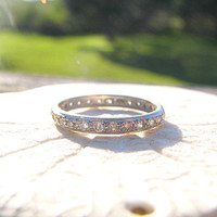 Vintage Diamond Eternity Band Ring, Elegant Wedding Ring or Stacking Band, appprox .40 to .50 carat, 18K White Gold, with  Appraisal