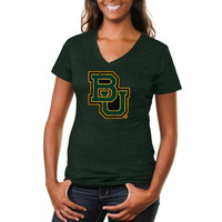 Baylor Bears Ladies Distressed Secondary Tri-Blend V-Neck T-Shirt - Green